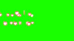 Social love 3d heart icon symbol animation across on a green screen