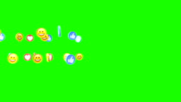 Social media 3d icons smile fingers and hearts on green screen chromakey background
