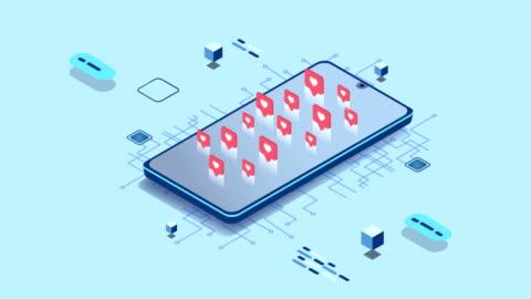 4k appar för sociala medier med en smartphone - följa rörlig aktivitet bildbanksvideor och videomaterial från bakom kulisserna
