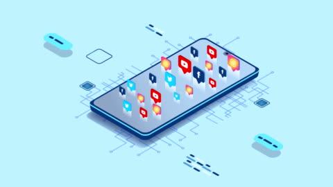 スマートフォン付き4kソーシャルメディアアプリ - 投影図点の映像素材/bロール