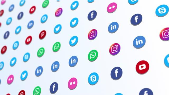 4k social media background - social media icon stock videos & royalty-free footage