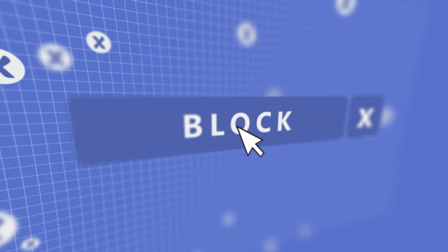 social media block button mouse pointer - block shape stock videos & royalty-free footage