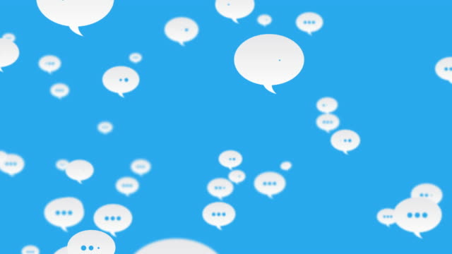 social media comments flying to left looped blue background - suggestion box stock videos & royalty-free footage