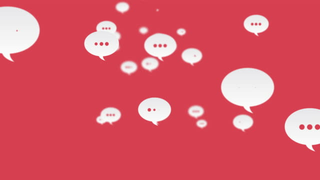 social media comments flying up looped red background - messaggistica online video stock e b–roll