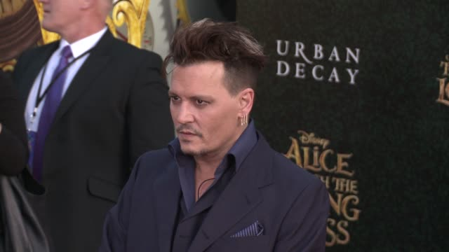 social media edit alice through the looking glass los angeles premiere at the el capitan theatre on may 23 2016 in hollywood california - johnny depp stock videos and b-roll footage