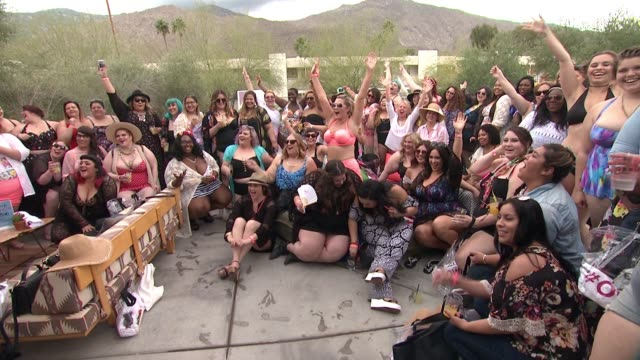 social media edit torrid #ownit pool party at the commune ace hotel at ace hotel on april 09 2016 in palm springs california - palm springs california pool stock videos & royalty-free footage