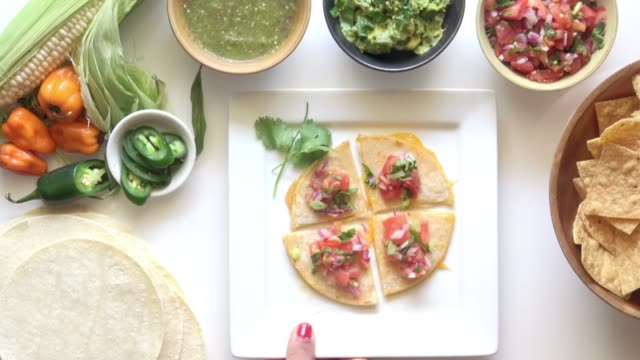 social media food photography. quesadilla. - food photography stock videos & royalty-free footage
