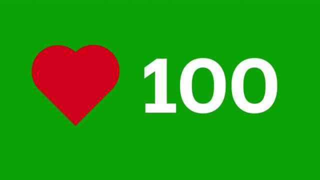 vidéos et rushes de animation d'icône de compteur de coeur de médias sociaux sur l'écran vert. compteur vidéo stock. - compteur