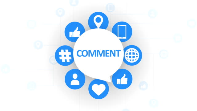 social media icons, comment speech bubble - speech bubble stock videos & royalty-free footage