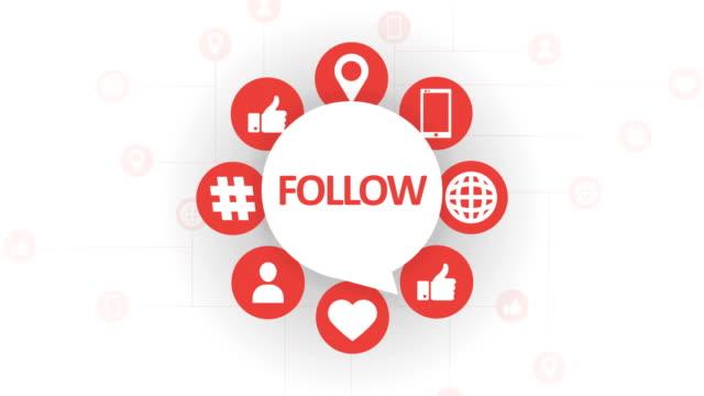 social media icons, follow speech bubble - speech bubble stock videos & royalty-free footage