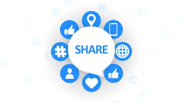 social media icons, share speech bubble - social media icon stock videos & royalty-free footage
