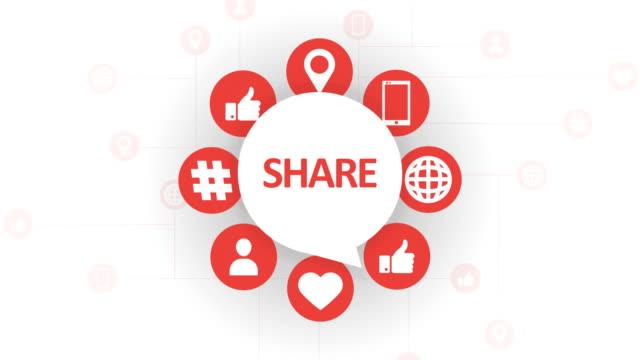 social media icons, share speech bubble - speech bubble stock videos & royalty-free footage