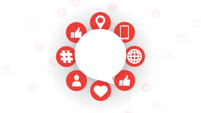 social media icons, speech bubble - speech bubble stock videos & royalty-free footage