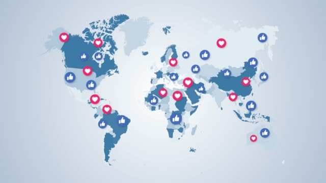4k social media icons world map - online messaging stock videos & royalty-free footage