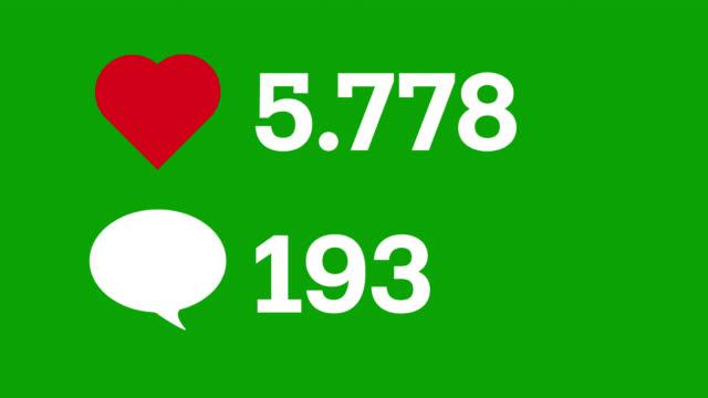 vidéos et rushes de les médias sociaux aiment et commentent l'animation d'icône de compteur sur l'écran vert. compteur vidéo stock. - compteur