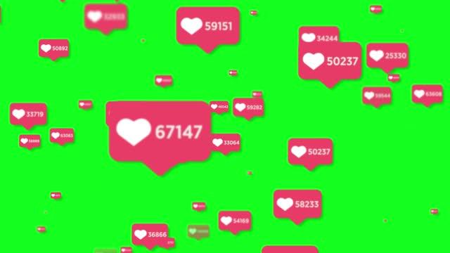 4k social media like icon animation background - green screen - enjoyment stock videos & royalty-free footage