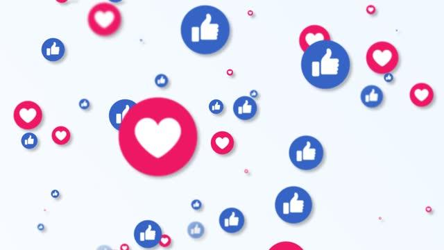 vídeos de stock e filmes b-roll de 4k social media like icon animation background - social media