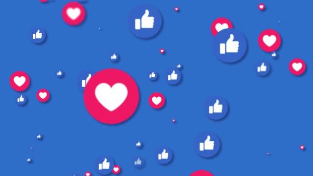4kのソーシャルメディアは、アイコンアニメーションの背景のような - バイラルビデオ点の映像素材/bロール