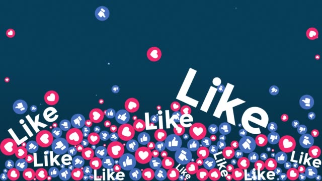 social media like icons falling on screen + alpha matte - speech bubble stock videos & royalty-free footage