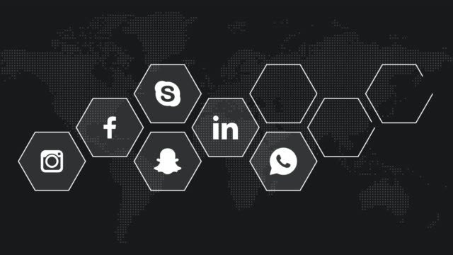 Social Media logo compilation animation. Facebook, Instagram, Youtube, Skype, Twitter, Linkedin, Whatsapp, Tinder, Snapchat. All logos and trademarks remain property of their respective owners. Editorial only.