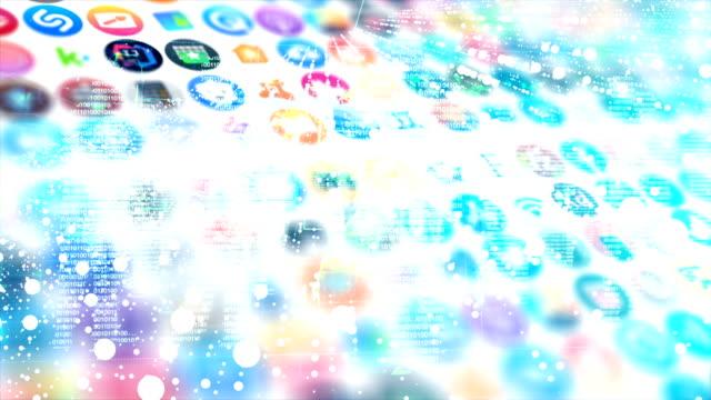 social media logo-kompilierungsanimation. nahtlos loopable scrolling zusammenstellung von social-media-icons und logos. alle logos und warenzeichen bleiben eigentum ihrer jeweiligen inhaber. nur redaktion. - verherrlichung stock-videos und b-roll-filmmaterial