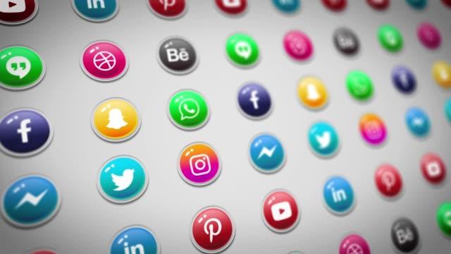 social media logo compilation animation. social media background, social network, marketing. - social media icon stock videos & royalty-free footage