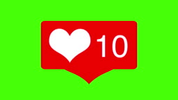 Social media Love Hearts counter icon animation with heartbeat on green screen. Good for marketing concept or short video background for social networks story.