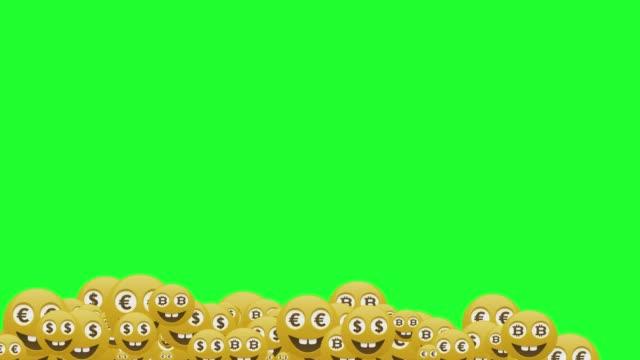 ソーシャルメディアマネー感情アイコンは、グリーンスクリーンの背景ストックビデオで落ちる - アイコン点の映像素材/bロール