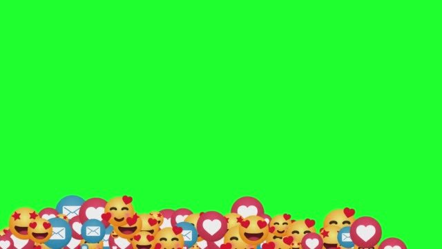 vidéos et rushes de social media positive emotion icons falling down with on green screen background stock video - émoticon