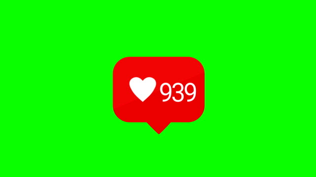 social media red comments counter, heart shape, 4k animation. alpha matte, chroma key. loopable. - social media stock videos & royalty-free footage