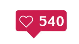 Social media red heart counter,  on a white background with alpha matte