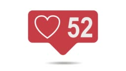 social media red heart counter, shows likes over time on