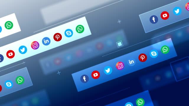 4k social media, social network, geometric background (loopable) - social media icon stock videos & royalty-free footage