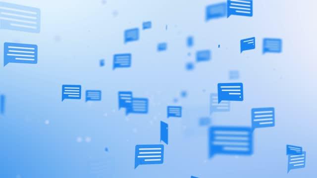 ソーシャルメディアのスピーチバブル、4kループバックグラウンド映像 - 問う点の映像素材/bロール