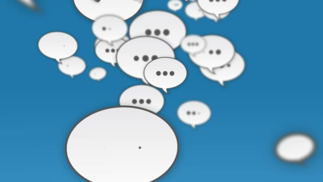 social media speech bubbles flying up - speech bubble stock videos & royalty-free footage