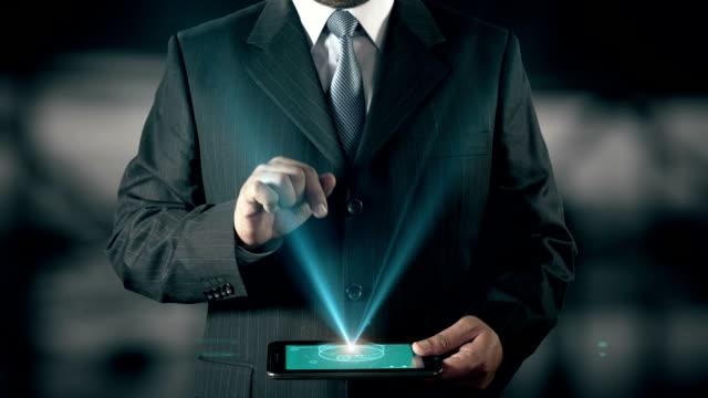 Social Media Success Concept Businessman using digital tablet technology futuristic background
