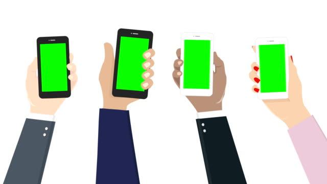 vídeos y material grabado en eventos de stock de tecnología de redes sociales con smartphone, chroma key, 4k, alpha mate. - ilustración