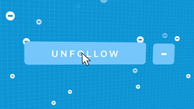 social media unfollow button mouse pointer - filmportrait stock-videos und b-roll-filmmaterial