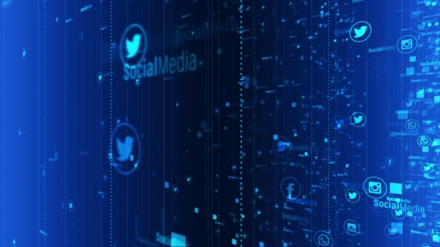social network and media fly trough 4k stock video - online messaging stock videos & royalty-free footage