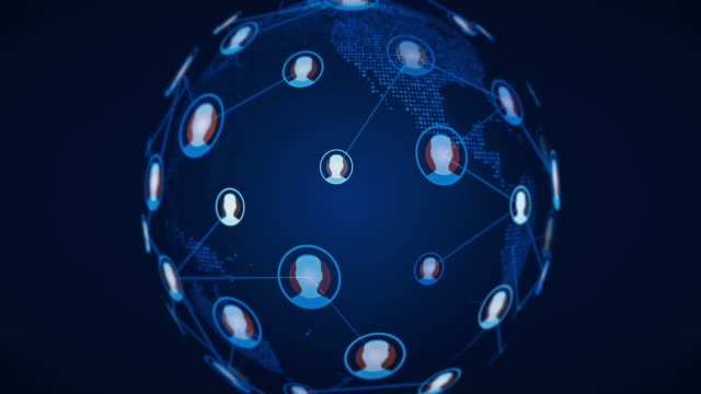 social network connection world globe - individuality stock videos & royalty-free footage