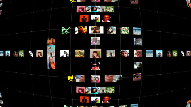 stockvideo's en b-roll-footage met social network grid - uitzoomen