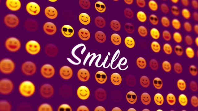 4k social networking and smile icon - 3d human face stock videos & royalty-free footage