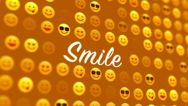 vidéos et rushes de icône de social networking et sourire 4k - émoticon