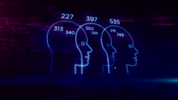 Social scoring and people rating concept with head shape looping