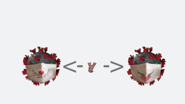 social-distancing, mask and hand washing coronavirus animation concept - keyable stock videos & royalty-free footage