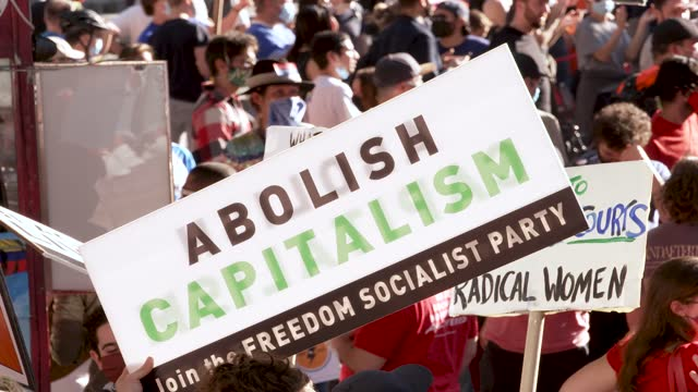 socialist party. celebrating the 46th president-elect joe biden and his vice-president kamala harris on the streets of midtown manhattan's times... - socialism stock videos & royalty-free footage