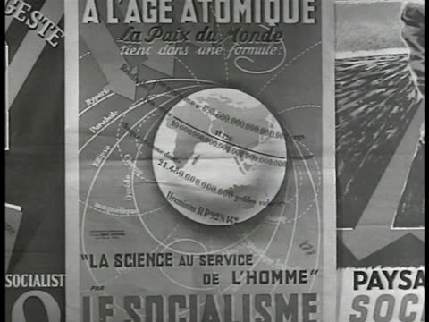socialist party poster int ws socialist party members executive committee in meeting around table talking ms party members at table 'sfio' poster bg... - 1946 stock-videos und b-roll-filmmaterial
