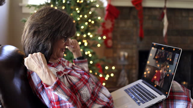socially distanced christmas with grandma and granddaughter - grandmother stock videos & royalty-free footage