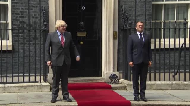 socially distanced photocall outside 10 downing street with boris johnson pm and president emmanuel macron as he visit london on 80th anniversary of... - 10 downing street stock videos & royalty-free footage