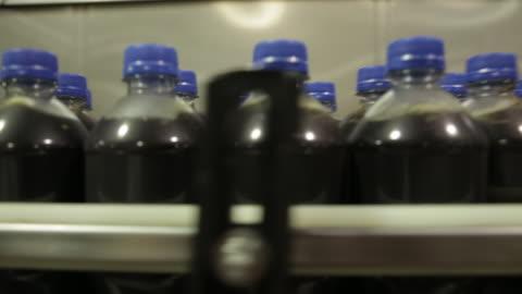 soda bottles on manufacturing line / soda bottling plant. - kall dryck bildbanksvideor och videomaterial från bakom kulisserna